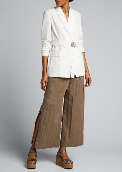 Crispy Cotton Gabardine Belted Jacket