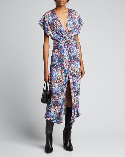 Floral-Print Deep-V Ruched Dress
