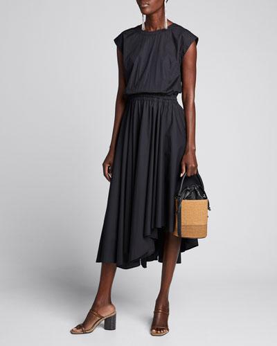 Lightweight Poplin Asymmetric Dress