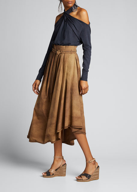 Image 1 of 1: Tie-Dyed Belted Asymmetric Midi Skirt