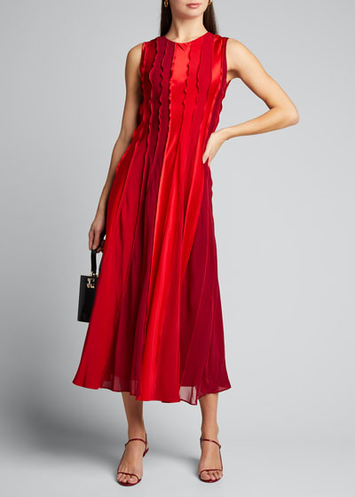 Chiffon Seamed Bias Midi Dress