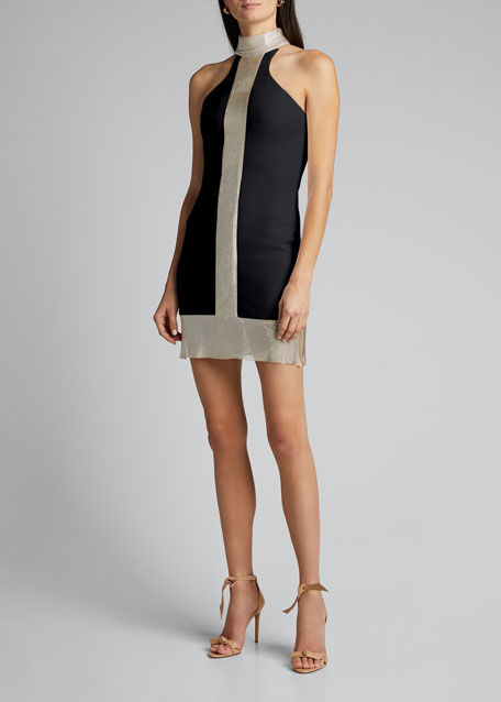 Mock-Neck Mini Cocktail Dress w/ Chainmail Center