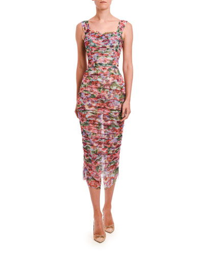 Floral Ruched Sleeveless Tulle Midi Dress
