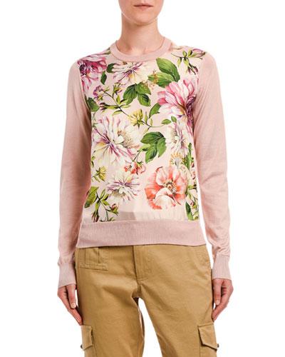 Silk Floral-Front Sweater