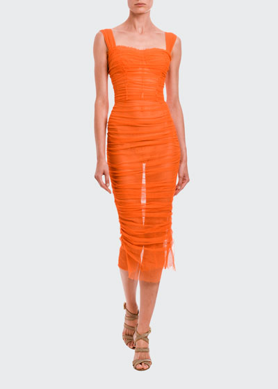 Ruched Tulle Bodycon Midi Dress