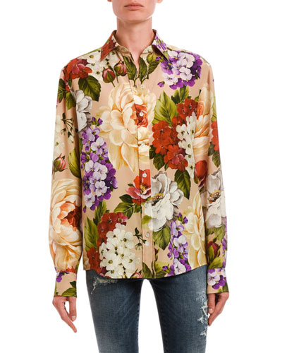 Floral Button-Front Long-Sleeve Silk Blouse