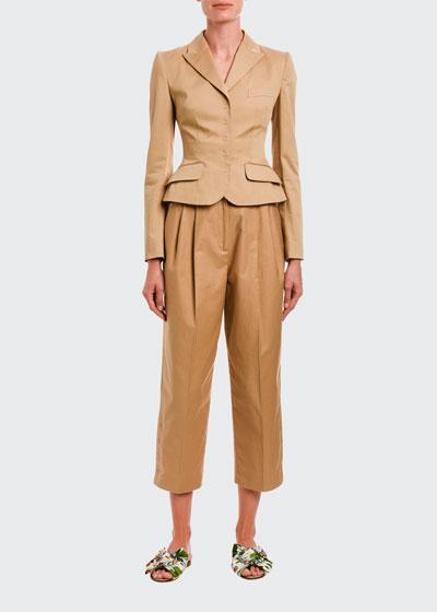 Khaki Snap-Front Blazer Jacket