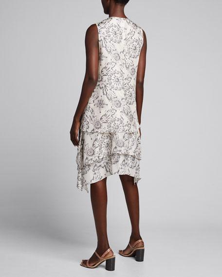 Printed Sleeveless Silk Tiered Dress