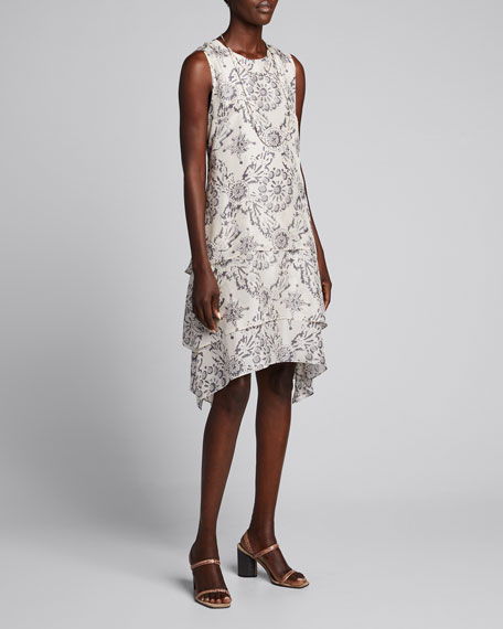 Image 1 of 1: Printed Sleeveless Silk Tiered Dress
