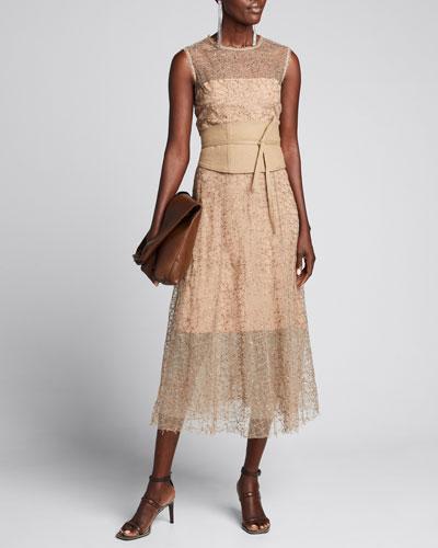 Tulle Sequined Sleeveless Dress