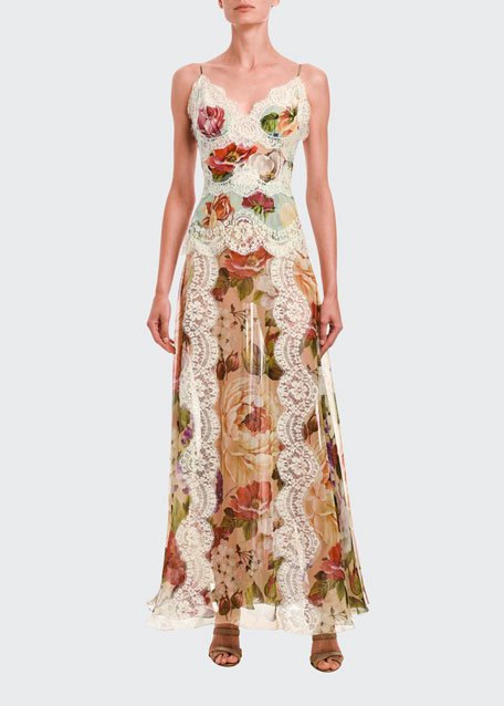 Lace-Trim Floral Print Satin Dress