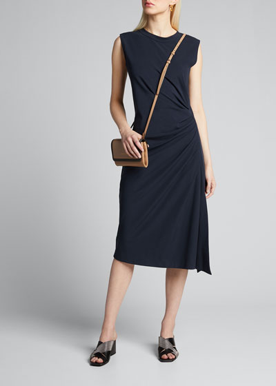 Ruched Cotton Jersey Dress