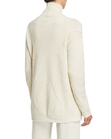 Cashmere-Ribbed Diagonal-Patchwork Sweater