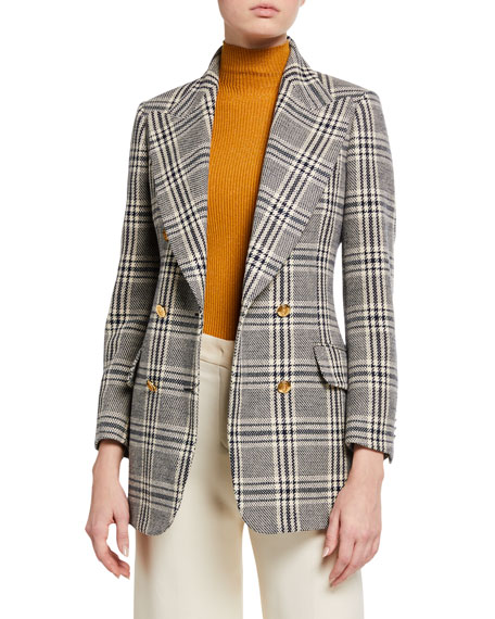 Checked Wool Plaid Blazer