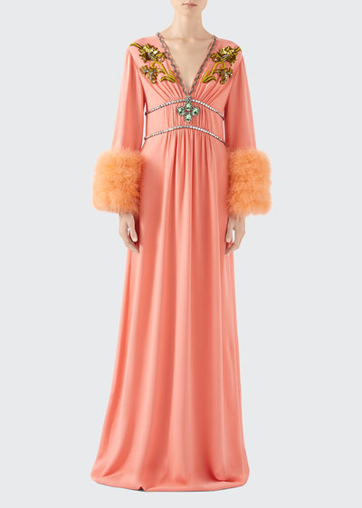 Crystal-Embroidered Jersey Feather-Cuff Gown