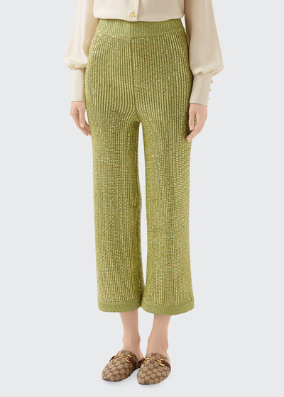 Sparkling Ribbed Jersey Crop Pants