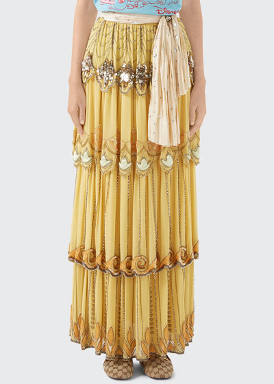 Crystal-Embroidered Pleated Layered Maxi Skirt