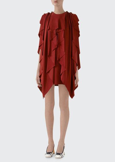 Ruffled Silk Sable Dress