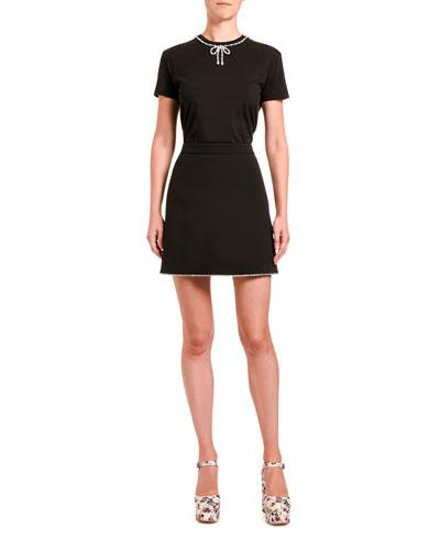 Pearl-Neck Jersey Dress
