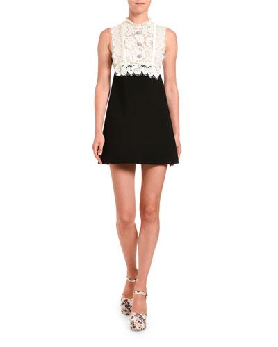 Lace-Bodice Cady Dress