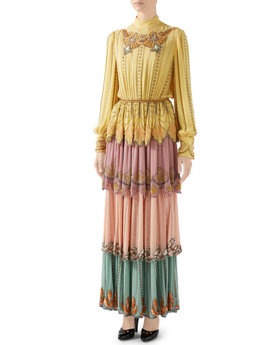 Long-Sleeve Tiered Embroidered Silk Colorblock Gown