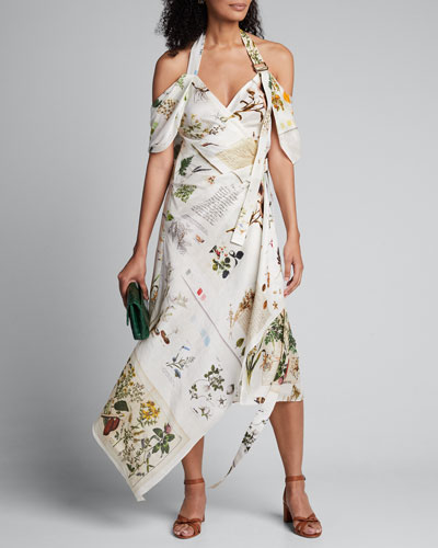 Botanical Book Printed Halter-Neck Dress