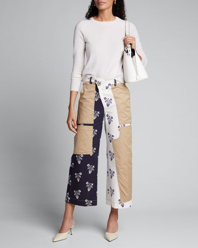 Patch Flower Pot Cropped Pants