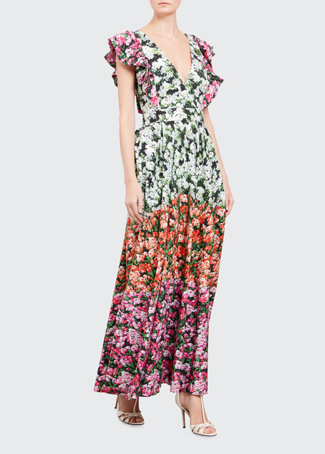 Image 1 of 1: Ruffled Floral-Print Dress