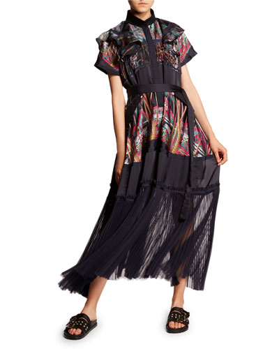 Palm Print Ruffle-Sleeve Pleat Bottom Dress