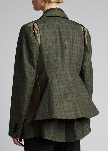 Glen-Checked Tailored Blazer