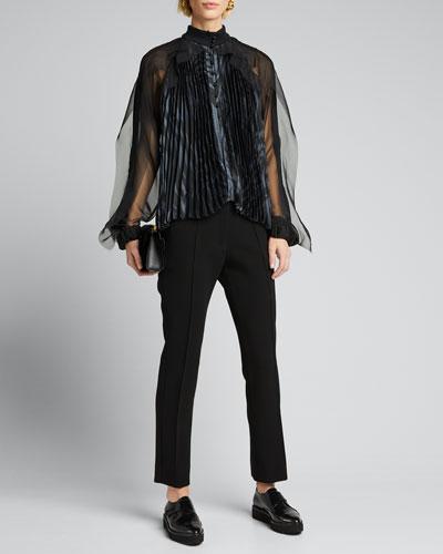 Zebra-Print Pleated Tulle Blouse