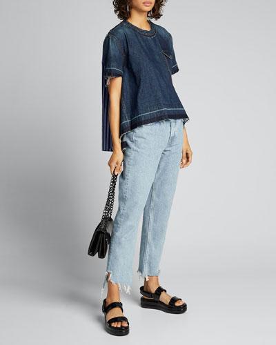 Denim-Front Handkerchief Hem Shirt