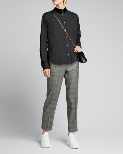 Lace-Back Shirt with Velvet Collar