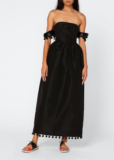Silk Off-the-Shoulder Dress with Bangle Sleeves