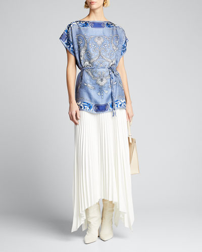 Plumeria-Print Silk Poncho