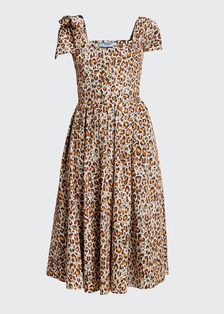 Leopard-Print Poplin Shirtdress