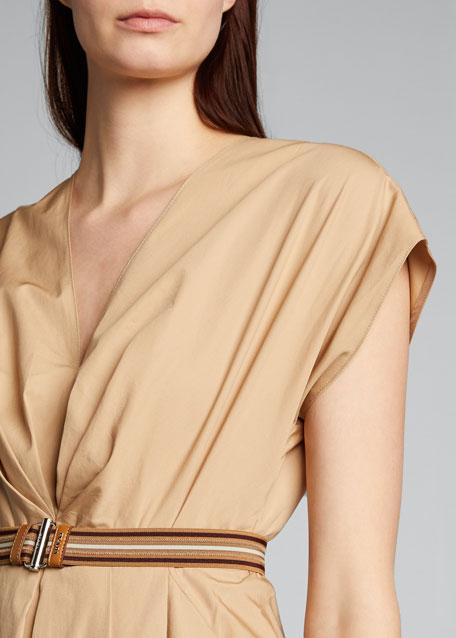 Belted Poplin Midi A-Line Dress