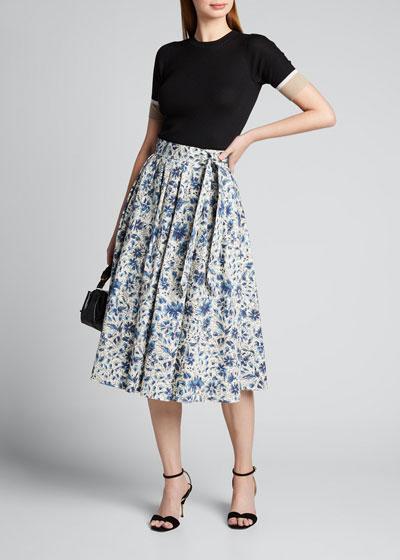 Floral Print Poplin Midi Skirt