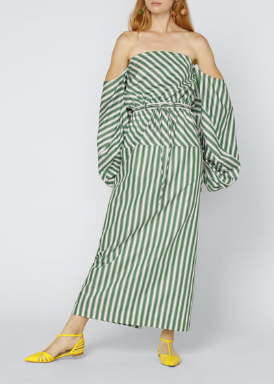 Strapless Balloon-Sleeve Striped Cocktail Dress
