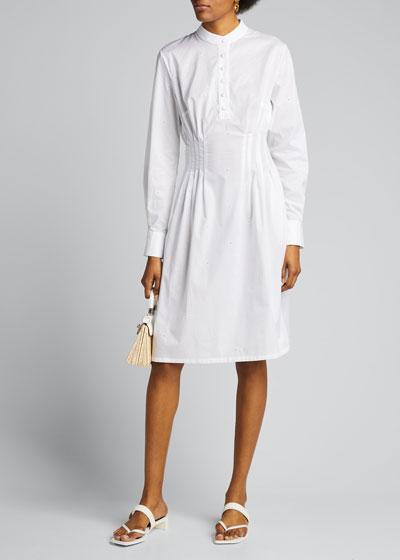 Gardenia Pleated-Waist Shirtdress