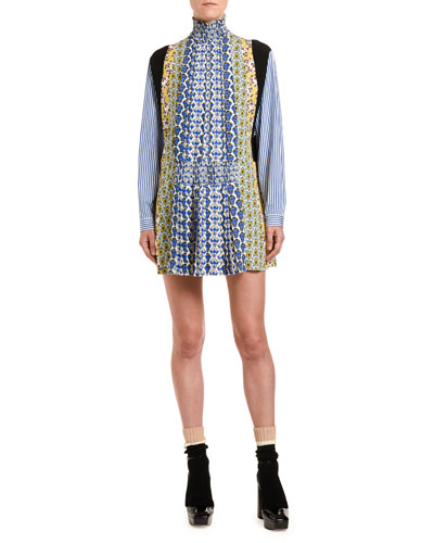 Patchwork Poplin Mock-Neck Dress