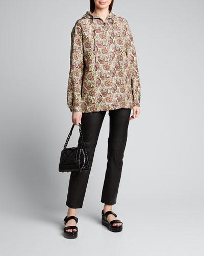 Paisley Silk Faille Anorak Jacket