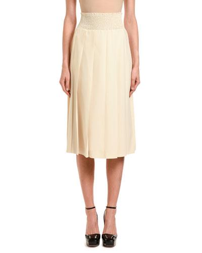 Pleated Solid Midi Skirt