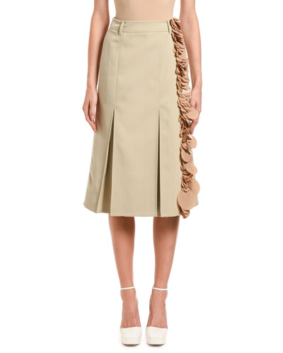 Wool Gabardine Sequined Midi Skirt