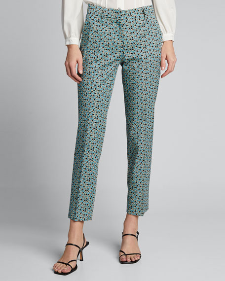 Printed Wool Cropped Pants