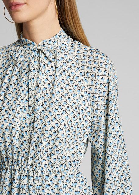 Floral Print Tie-Neck Shirtdress