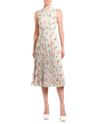 Floral-Print Sleeveless Crepe High-Neck Dress