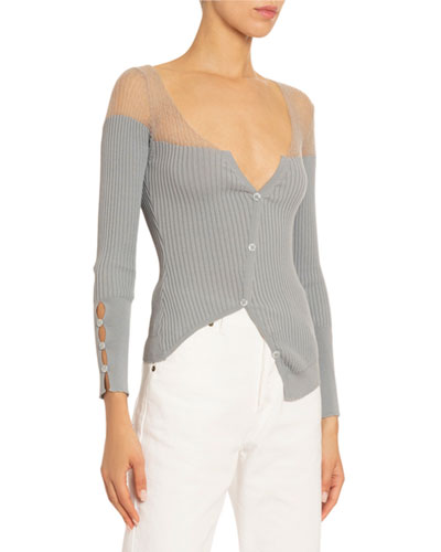 Le Tordu Tulle-Illusion Cardigan  Gray