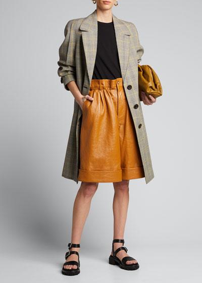 Knee-Length Leather Carpenter Shorts
