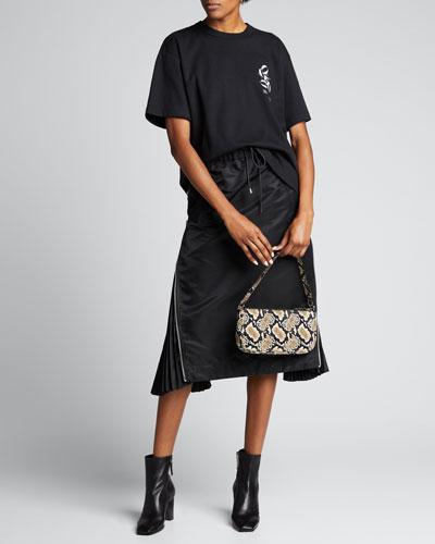 Taffeta Zip-Pleated Midi Skirt